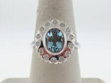 Estate Natural Blue Topaz (9x7mm) Diamonds (VS) Solid 14K White Gold Ring