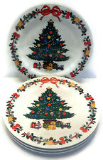 Vintage Set of 4 Christmas Tree and Toys Dinner Plates Woolworth Company