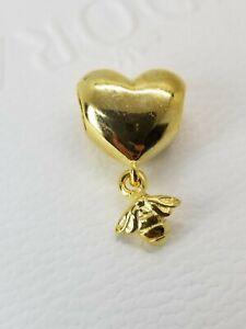NEW  PANDORA Shine gold Heart And Bee Dangle Charm Pendant 767022