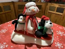 2007 Hallmark Jingle Pals Animated Musical Snowman Snow What Fun Sledders