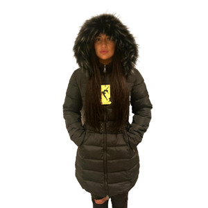 LADIES WOMENS PLUS BELT HOODED FUR QUILTED PADDED WINTER COAT PUFFA PARKA JACKET