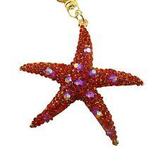 Red Starfish Rhinestone Crystal Charm Pedant Purse Key Chain