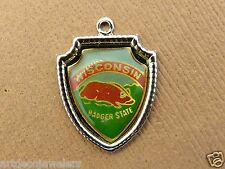 Vintage silver WISCONSIN THE BADGER STATE TRAVEL SHIELD SOUVENIR charm #1 #S