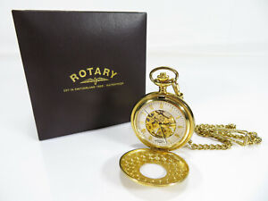 Rotary - Full Hunter Mechanical Pocket Watch - Boxed - On Chain - MP00713/01