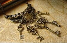 "Antique Style Vintage Bronze Lock Skeleton Heart Keys 24"" Necklace Steampunk"