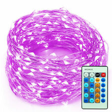 99FT 300 LEDs Outdoor Wedding Christmas Copper Wire LED String Lights Purple