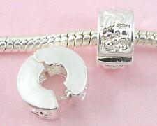 10pcs Silver /P Flower Clip Lock Stopper Beads Fit European Charm Bracelet K12