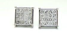 FINE MEN'S OFFICIAL 1.64 CT PRINCESS INVISIBLE DIAMOND EARRING VS 18K WHITE GOLD