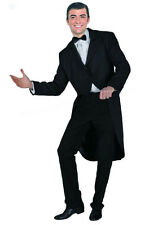 MENS VICTORIAN EDWARDIAN LONG BLACK TAILCOAT COAT HALLOWEEN COSTUME NEW L