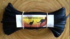 """Kangaroo Lace BLACK Kangaroo Leather Lacing (3.0mm 1/8"""" Width) 20 meter hank"""