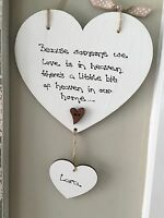 Because someone we love is in Heaven quote Shabby Heart vintage Chic plaque sign