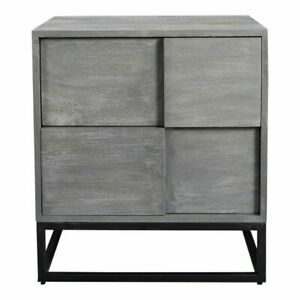 "24"" T Modern Nightstand Solid Acacia Wood Grey Stain Powder Coated Iron"