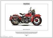 HARLEY-DAVIDSON WL Stampa Fine Art Classico Americano A testa piatta V-Twin Moto