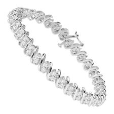 "1.30Ct Round Cut D/VVS1 Diamond Double-Row Tennis Bracelet in Sterling Silver 8"""