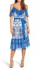 ELIZA J Size Plus 20W  Blue Dress Cold Shoulder Floral Ruffle Belt Tie $138 New