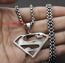 Hot sale Men's Stainless Steel Superman Necklace Pendant + Rolo Chain 3mm 22''