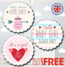 BGM1 30x 35mm Baby Shower Birth Girl Christening Stickers/Labels/Gift Tags/Cards