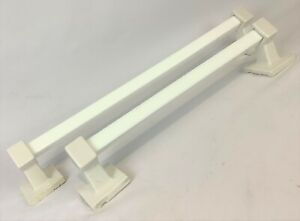 Pair c1930s Antique Art Deco Square Milk Glass Towel Bars White Porcelain Ends