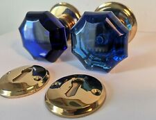 1 Pair Antique Door Knobs - Blue Cobalt Glass - Victorian Era Pulls Handles
