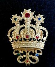"Signed JJ Large Royal Crown Ruby Emerald Sapphire Rhinestone Pin Brooche 2.5"""