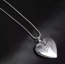 925 Sterling Silver Plated Vintage  Love Heart Photo Frame Locket & Necklace