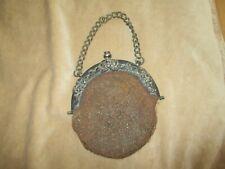 Interessante Handtasche/Gürtel-Tasche um 1880 Stahlperlen m.Leder Innenfutter