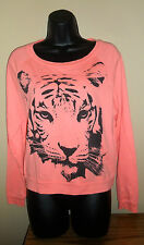 Tiger Face Pink Coral Boat Neck Women's Pullover Sweater Forever 21 Small