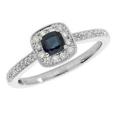Cushion Sapphire White Gold Fine Diamond Rings