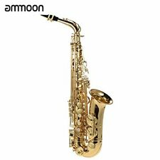 ammoon ® bE Alto Saxphone Brass Lacquered Gold E Flat Sax 802 Key Type Woodwind