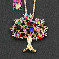 Betsey Johnson Colorful Rhinestone Flower Tree Pendant Chain Necklace/Brooch Pin