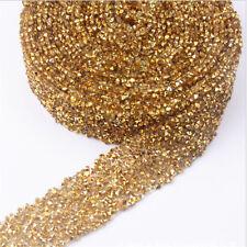 Rhinestone Beaded Iron On Applique Trim Wedding Party Dress Embellishment Decor