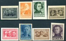 POLAND-1947 Culture Set of 8 Imperf Sg 587-594B UNMOUNTED MINT V32120