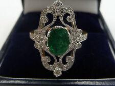 Markenlose Echte Diamanten-Ringe aus Weißgold mit Smaragd