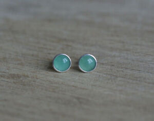925 Sterling silver stud earrings with 6mm natural green Aventurine