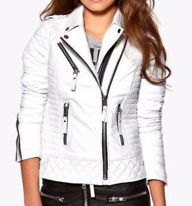Womens Ladies Quilted White Lamb Skin Designer Fashion Leather Jacket