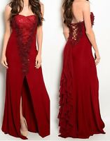 Burgundy Red Boned Corset Sequin Applique Lace-Up Back Split Front Maxi Dress