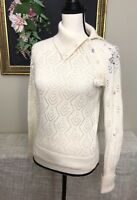 Womens Rebecca Taylor Pointelle Knit Sweater sz Medium Embellished Sleeve