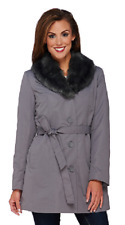 Dennis Basso Coat with Removable Faux Fur Collar and Liner, Gray, Size XS, $158