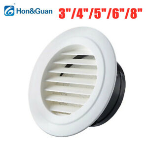 """Hon&Guan 3-8"""" Circle ABS Air Vent Grille Cover Round Ventilation With Fly Net"""
