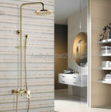 Polished Gold Bathroom Single Handle Rain Shower Tub Faucet + Hand Spray lgf402