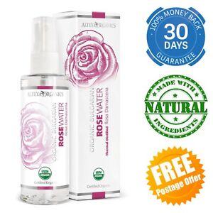 Organic Bulgarian Rose Water Spray Certified Pure Fresh Scent Natural Travel Bio