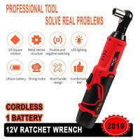 "3/8"" 12V Cordless Ratchet Wrench Right Angle Socket Wrench Spanner Gun +Battery"