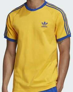 Adidas Originals 3 Stripes T Shirt Golden Yellow/Royal