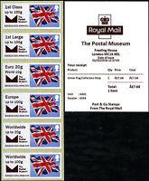 THE POSTAL MUSEUM BPMA NOW OBSOLETE FLAG + LOGO COLL STRIP  FDI FLAGS POST & GO