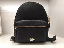 Gift Rec Authentic Coach F38263 Mini Charlie Backpack In Pebble Leather Black