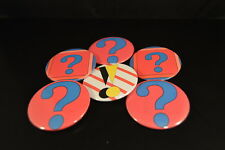 Lot of 6 Existential ? & ! Buttons pins Irregular Free S/H pinbacks Question