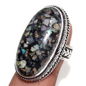 Copper Ethopian Opal Gemstone Ethnic Handmade Vintage Ring Jewelry US Size-8 JW