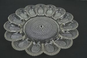 "Vintage Indiana Glass 11"" Bubble Hobnail Deviled Egg Dish Relish Tray 15 Egg"