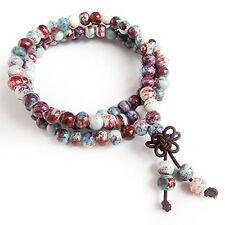 ALoveSoul 108 Buddhist Prayer Mala Porcelain Shiny Glaze Beads Handmade Bracelet