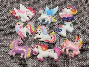 20pcs Assorted Glitter Flatback Resin Unicorn Horse Cabochons for Scrapbooking